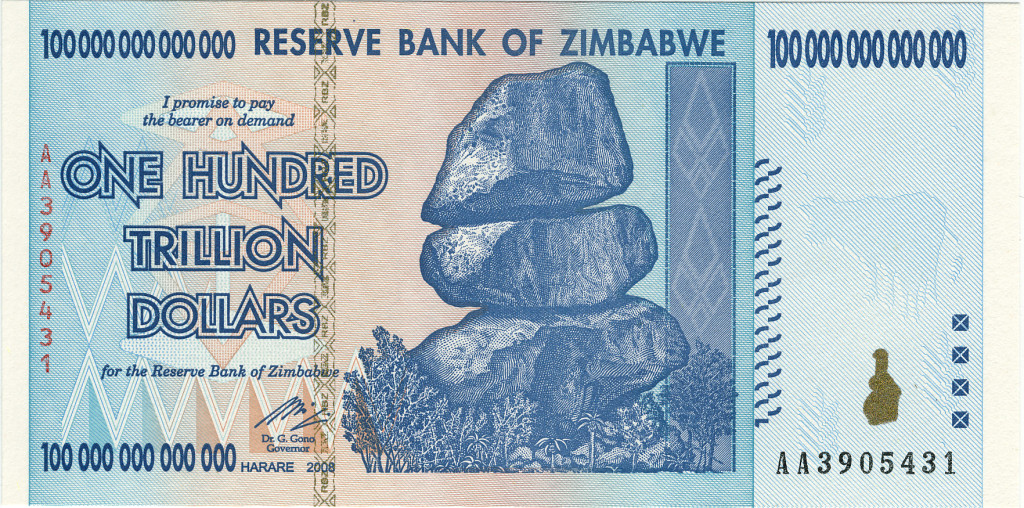 An oversupply of money is the reason why Zimbabwean dollars have to be counted in scientific notation.