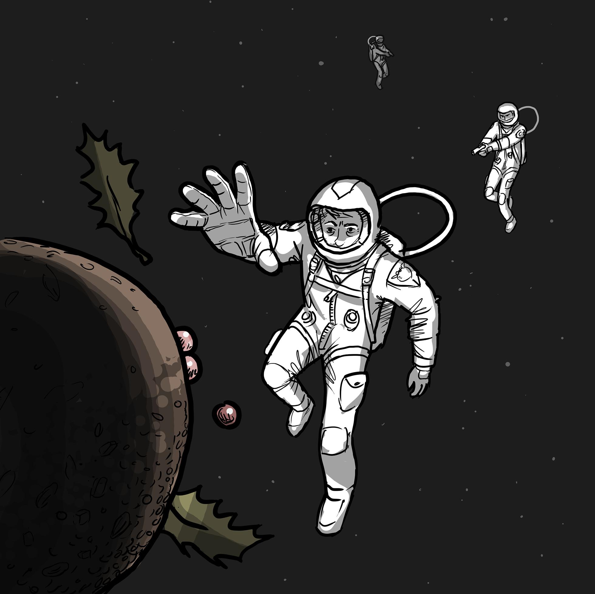 Astronaut reaching