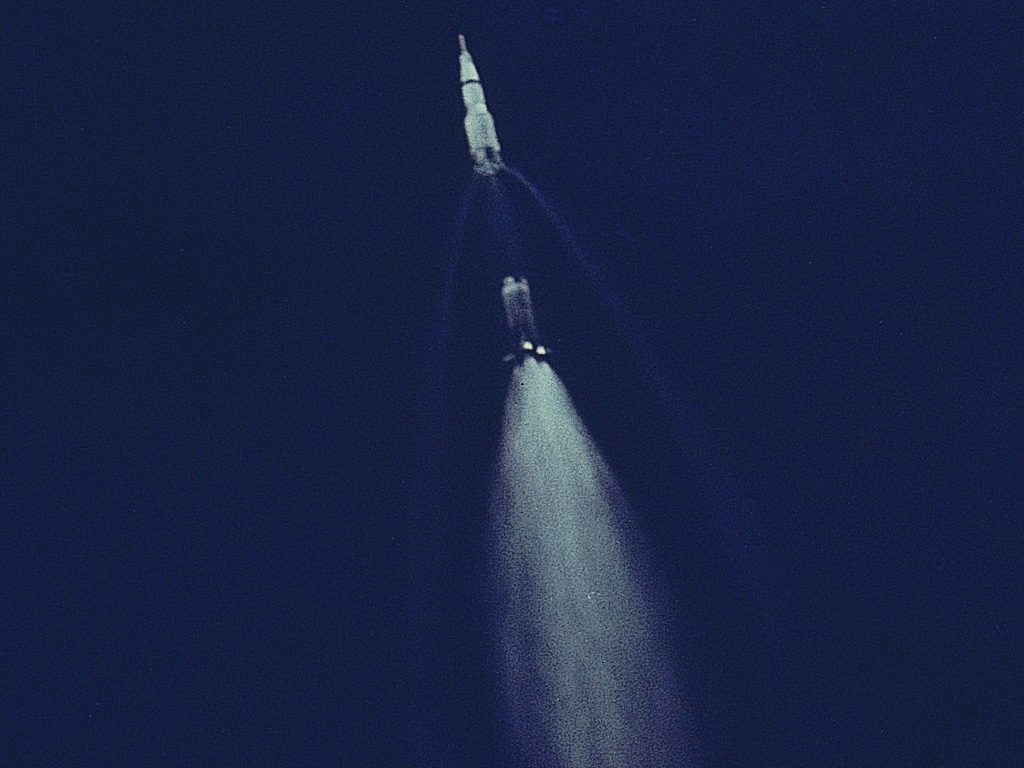 Saturn V separating from its booster